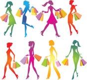 Shoppingflickasilhouettes stock illustrationer