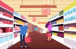 Shoppingfolk i stormarknad Kunder mellan livsmedelsprodukthyllor Begrepp för detaljhandel- och rabattförsäljningsvektor vektor illustrationer