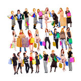 Shoppingfolkmassor arkivfoto