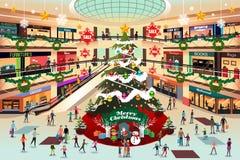 Shoppinggalleria under julillustration royaltyfri foto