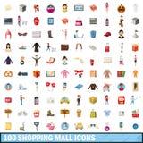 100 shoppinggalleriasymboler uppsättning, tecknad filmstil Royaltyfri Bild