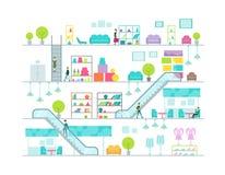 Shoppinggalleriavektorillustration Arkivbilder