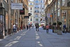 Shoppinggata av Wien, Österrike Royaltyfri Fotografi