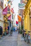Shoppinggata Fnidsen i Alkmaar, Nederländerna Fotografering för Bildbyråer