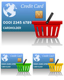 Shoppingkorg & kreditkort Arkivbild