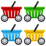 Shoppingkorg med stora hjul Arkivbild
