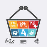 Shoppingkorg med symboler av online-e-komrets stock illustrationer
