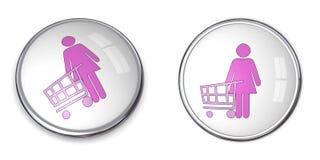 shoppingkvinna för knapp 3d stock illustrationer