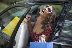 shoppingkvinnabarn Royaltyfria Foton