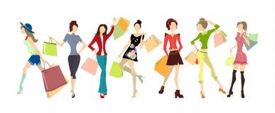 Shoppingkvinnauppsättning stock illustrationer