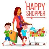 Shoppingkvinnavektor Med barn Inhandla begrepp lycklig shoppare le för flicka Hållande pappers- packar joyful vektor illustrationer