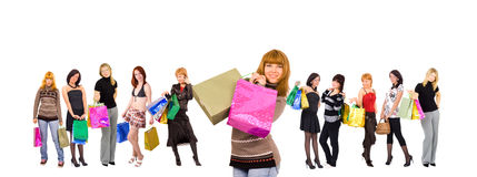 shoppingkvinnor Royaltyfri Fotografi