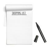 Shoppinglista på anmärkningsboken med den svarta pennan Arkivfoton