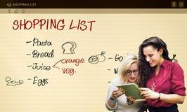 Shoppinglistan noterar livsmedel kylt begrepp royaltyfri foto