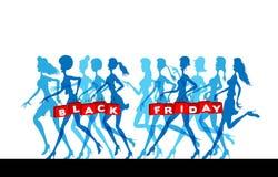 Shoppingpåsar för svarta fredag med kvinnakonturer arkivfoton