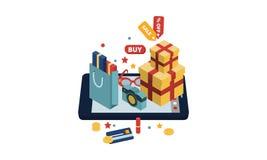 Shoppingpåsar, gåvaaskar, tillbehör på en stor minnestavla, online-shoppa begreppsvektorillustration vektor illustrationer