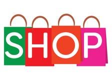 Shoppingpåsar med ord`en shoppar `, Royaltyfri Illustrationer