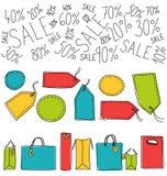 Shoppingpåsar och etiketter Arkivfoto