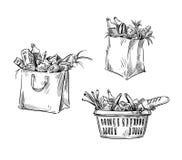 Shoppingpåsar och korg bakgrund som tecknar den blom- gräsvektorn stock illustrationer