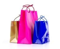 Shoppingpåsar på en vit Royaltyfria Bilder