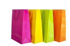 shoppingpåsar som isoleras på white Fotografering för Bildbyråer