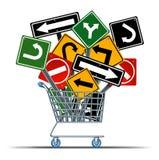 Shoppingriktning vektor illustrationer