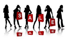 shoppingsilhouettekvinna Arkivfoton