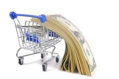 shoppingspårvagn med dollar Royaltyfri Foto