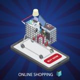 Shoppingspårvagn med molnet av det olika hushållet stock illustrationer