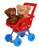Shoppingsupermarketvagn med leksaker för nallebjörn Royaltyfri Fotografi