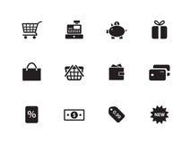 Shoppingsymboler på vit bakgrund. Arkivbilder