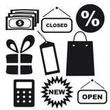 Shoppingsymboler: Pengar prislapp, gåvaask, räknemaskin, packe Royaltyfri Fotografi