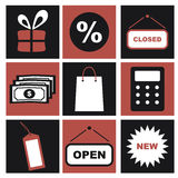 Shoppingsymboler, svartvita E-kommers Pictograms vektor illustrationer
