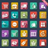 Shoppingsymbolsuppsättning stock illustrationer