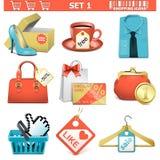 shoppingsymbolsuppsättning 1 royaltyfri illustrationer