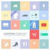 Shoppingsymbolsuppsättning Arkivfoto