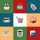 Shoppingsymbolsuppsättning och tecken Stock Illustrationer