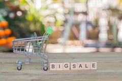 Shoppingvagn eller spårvagn med text, begreppsshopping Royaltyfri Bild