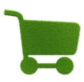 Shoppingvagn för grönt gräs Textur för naturlig bakgrund Arkivbilder