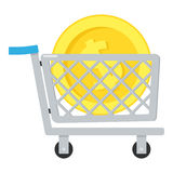 Shoppingvagn & guld- myntsymbol på vit Arkivfoto
