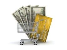 Shoppingvagn, kreditkort och dollarbills Royaltyfri Fotografi