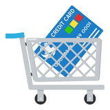 Shoppingvagn & kreditkortsymbol på vit Arkivbilder