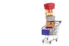 Shoppingvagn med bunten av gåvaaskar som isoleras på vit Royaltyfri Bild
