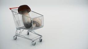 Shoppingvagn med champinjoner stock illustrationer