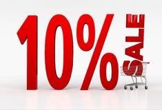 Shoppingvagn med det tio procent rabatttecknet på vit bakgrund Royaltyfri Fotografi