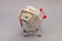 Shoppingvagn med dollar Fotografering för Bildbyråer