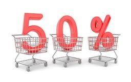 Shoppingvagn med försäljning. Rabattmetafor royaltyfri illustrationer