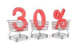Shoppingvagn med försäljning. Rabattmetafor stock illustrationer