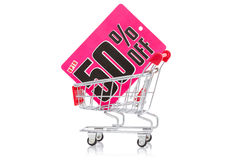 Shoppingvagn med försäljningsetiketten Fotografering för Bildbyråer