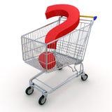 Shoppingvagn med fråga vektor illustrationer